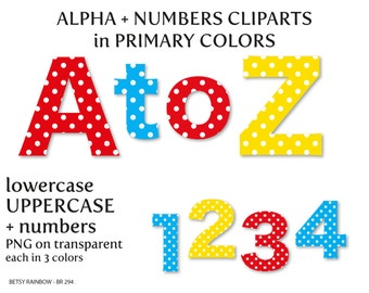 Primary colors polka dots alphabet clip art, letters and numbers, letter clipart, number clipart,  Scrapbook supplies  - BR 294