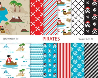 Pirates paper pack, pirates digital paper, pirates party paper, scrapbook paper, digital backgrounds - BR 340