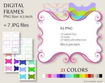 Digital frames clip art in 21 colors PNG and JPGs, Digital frame clipart  - BR 389