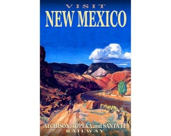 "NEW MEXICO Atchison Topeka & Santa Fe Railway -New Poster Retro Train Travel Art -available in 12""x18"", 20""x30"" or 24""x36"" sizes- Print 073"