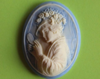 40x30mm Loose Unset 3D Blue Hat Lady Cameo
