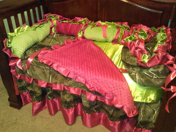 Baby girl camo lime green and hot pink ruffled bedding set