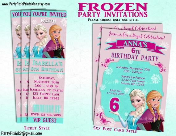 Disney Frozen Party Invitation Andor Package Printable