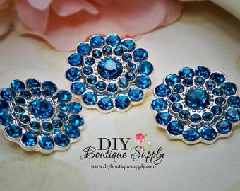 Turquoise Blue Rhinestone Buttons - Metal Embellishment - Blue Crystal Buttons Headband Supplies flower centers - 22mm 577044