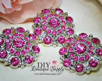 Large Rhinestone Buttons HOT PINK - Rhinestone Crystal buttons Embellishments Acrylic Flower centers Headband Supplies 28mm 3 pcs 608040
