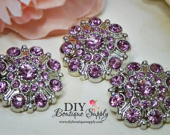 Large Rhinestone Buttons LAVENDER - Rhinestone Crystal buttons Embellishments Acrylic Flower centers Headband Supplies 28mm 3 pcs 609040