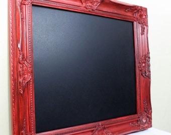 Red Framed Chalkboard, Farmhouse Kitchen Decor Magnetic Message Center Rustic Wedding Decor Office Black Board Kitchen Chalkboard Wall Decor