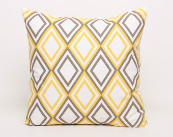 Yellow Throw Pillow Cover, Yellow Cushion Cover, 18x18 Pillow Cover in Yellow, Geometric Pillow Cover Accent Pillow Yellow Sham Decorative