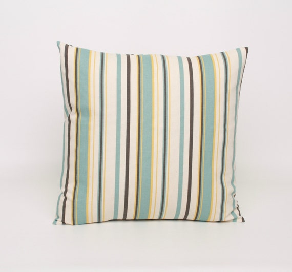 Blue Striped Throw Pillow Cover : Items similar to Stripe Pillow Covers Blue Yellow Cushion Cover Throw Pillow Cover 20x20 Blue ...