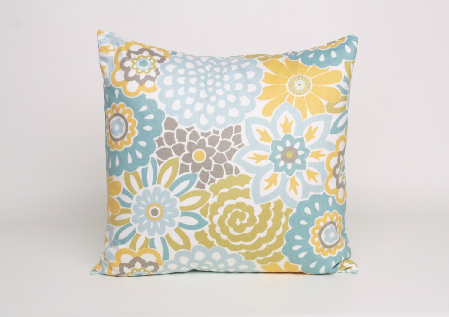 Throw Pillows Yellow And Blue : 20 x 20 Throw Pillow Blue Yellow Putty and by DimensionsHomeDecor