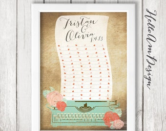 Wedding Guest Book - Typewriter - rustic vintage Wedding - Guest Book Print -Wedding Art Print - Guest Book alternative - Wedding Guest Book