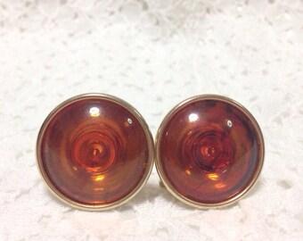 Vintage Maple Orange Round Earrings, Clip On