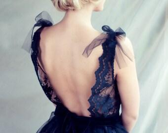 Black lace evening dress, Open back dress