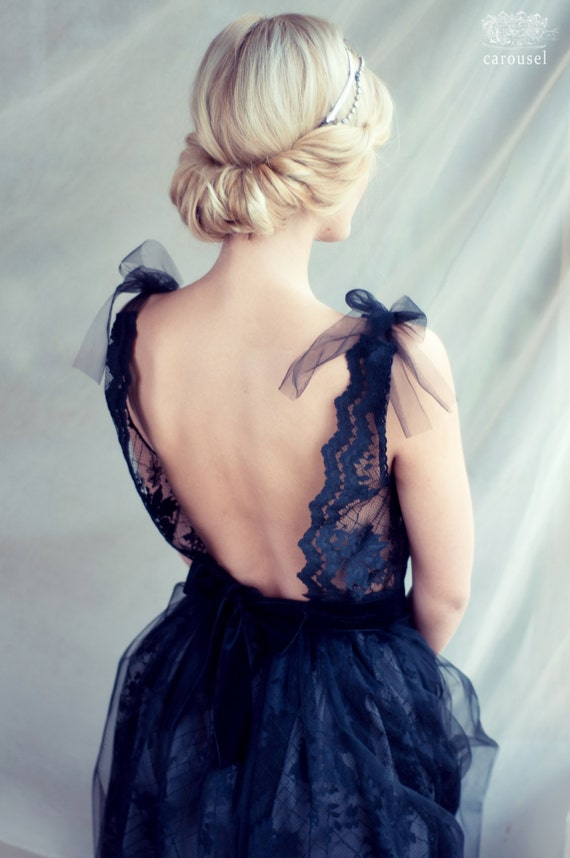 Black lace evening dress, open back dress + express delivery