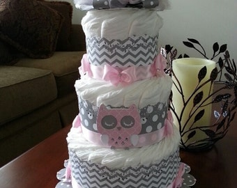 Three Tier Owl Diaper Cake / Owl Baby Shower / Pink And Gray Diaper Cake