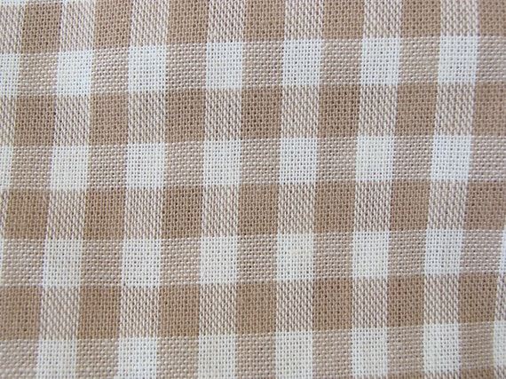 Light Brown Beige Gingham Fabric Plaid Fabric Check