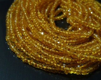 2 to 2.5 mm Golden Citrine Micro Faceted Rondelle Full 13 inch strand-AAA+ Rare Quality,best price