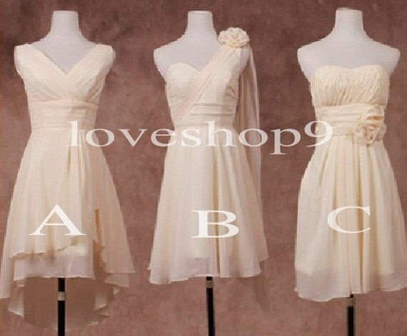 Short Cream Bridesmaid Dresses A line Chiffon Prom Dresses Formal Party Evening Dresses 2014 Wedding Events