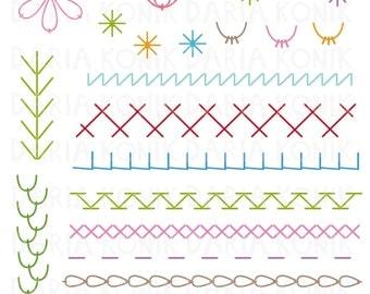 Embroidery Stitches Clip Art Set-stitch sampler clipart, chain stitch, fern stitch, feather stitch, eps, png, jpeg, instant downlad