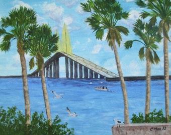 "Sunshine Skyway, St. Pete, Florida - 11x14"" seascape print of my original acrylic painting"