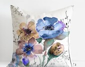 Linen Cushion Cover, Mountain Flowers Pillow Case, Designer watercolour Pillow Decorative Cushion, Handmade in Canada, handpainted floral