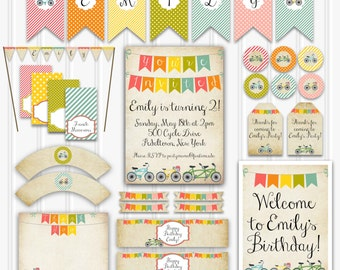 Vintage Bicycle Birthday Party Set, Bicycle Party Kit, Printable Bike Birthday, INSTANT DOWNLOAD, Kids Bicycle Birthday Decorations