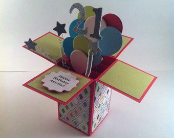 Happy Birthday Pop Up Card - Customizable - Card in a Box - 3d Card
