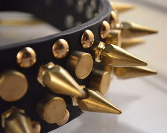 Handmade Leather Dog Collar Spiked Studded For Large to Extra Large Dogs Puppies People