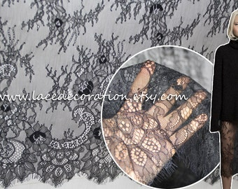 3 meter per piece Soft Bilateral Eyelash Lace Fabric,  French Style Wedding Dress Lace Fabric, Off White Black Lace Fabric