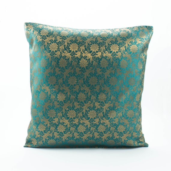 Throw Pillows For Dark Green Couch : Dark Teal Green Silk PillowDecorative throw pillow by Fabricasia