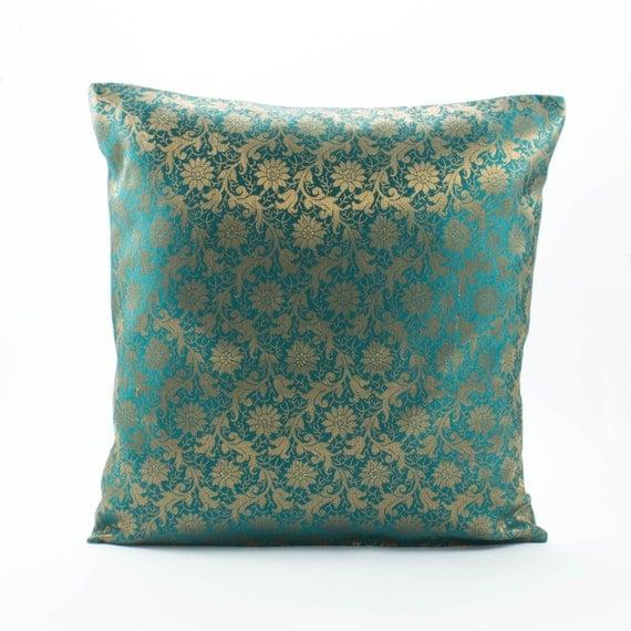 Dark Teal Green Silk PillowDecorative throw pillow by Fabricasia