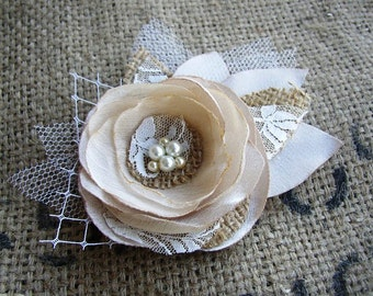 Burlap Lace Rustic Hair Accessories - Champagne Ivory Bridal Hairpiece - Wedding Hair Piece - Rustic Wedding Hair Flower Clip