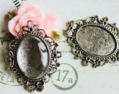 15 sets of vintage silver oval pendant trays glass tiles 18x25mm cameo settings / blanks floral lace edge jewelry making supplies