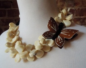 OOAK Tan Coral Statement Necklace with Brown Vintage Butterfly Brooch