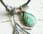 SALE! 30% off with coupon code :  SUNSET   - chrysoprase leather sterling silver necklace.