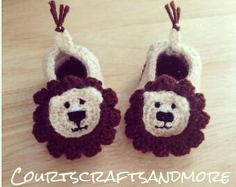 Baby Lion Crochet Slippers