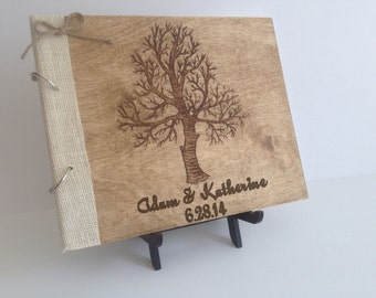 Wedding Guest Book, Wooden Guest Book, Engraved Guest Book