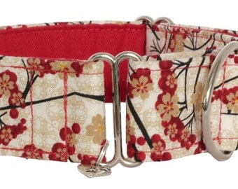 "Noddy & Sweets Adjustable Martingale Collar [1"", 1.5"", 2"" Sakura Red]"