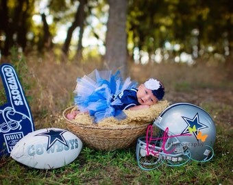 Dallas Cowboys Baby Girl Shabby Flower Elastic Headband