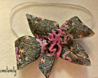 Pink and Camo Baby Girl Boutique Bow Elastic Headband