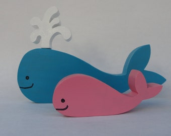 Whale family, wooden deco or toy