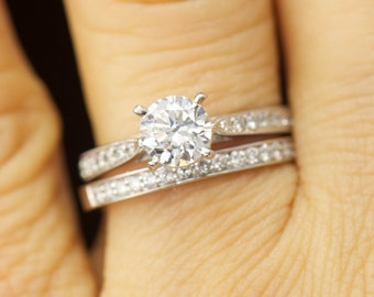 Lydia Set - Moissanite and Diamond Engagement Ring and Diamond Wedding Band in White Gold, Tapered Shank, Milgrain, Classic, Free Shipping