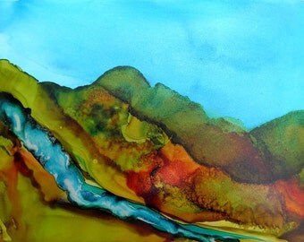 Alcohol Ink Painting 5x7 original landscape on Yupo paper  # 119