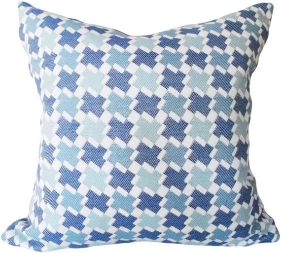 Blue Houndstooth Decorative Pillow Cover Throw Pillow