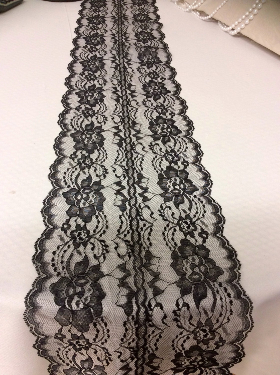 5ft 10ft black lace table runner wedding by lovelylacedesigns