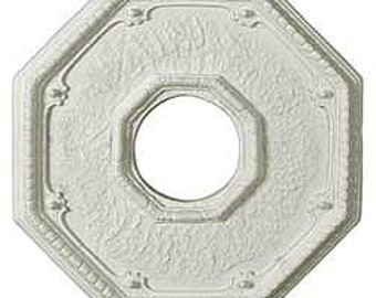 "Octagon Ceiling Medallion, 13 1/2."" Hand-made in plaster. Easy to install and perfect for a fixture/space that needs a finishing detail."
