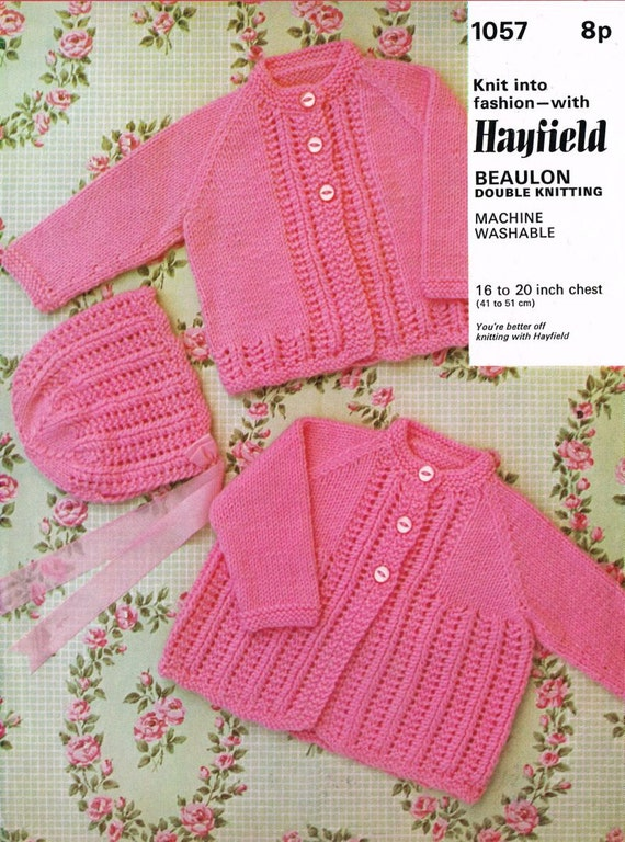Hayfield Knitting Patterns For Babies : baby cardigan vintage knitting pattern PDF instant by Ellisadine