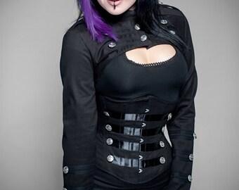 Black steampunk military steel underbust corset