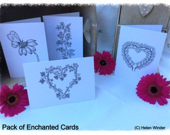 Enchanted Greetings Cards - 4 Pack of Cards