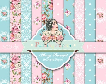 Always Beautiful - Instant Download, Digital Papers, Shabby Chic, Scrapbook Paper, Decoupage Paper, Floral Paper, Flowers, Roses, Pink, Blue